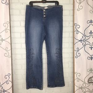 Z Cavaricci Embroidered Jeans Size: 16